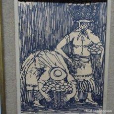 Arte: DIBUJO DE 1969 DE FIRMA ILEGIBLE.ENMARCADO EN TENERIFE DE GRAN CANARIAS.VENDEDORAS DE FLORES.. Lote 189713147