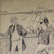 Arte: CAPITÁN Y MARINERO. CARICATURA. DIBUJO A TINTA SOBRE PAPEL. F. FABRA. 1894.. Lote 189809715