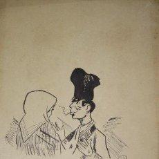 Arte: PAREJA. CARICATURA. DUBUJO A TINTA SOBRE PAPEL. F. FABRA. 1894. . Lote 189811168