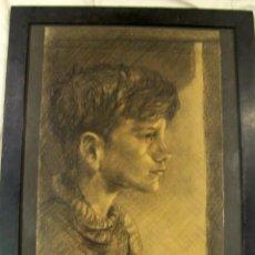Arte: ESTUPENDO DIBUJO AL CARBONCILLO SOBRE CARTULINA DE JOVEN FIRMADO 1954 PARTE TRACERA FIRMADA. Lote 190149295