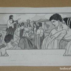 Arte: DIBUJO ORIGINAL DE RAFAEL BARRADAS (1890-1929) - LOS OJOS DEL NAZARENO - 33X18 CM, BUEN ESTADO . Lote 190240675