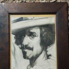 Arte: DIBUJO A CARBONCILLO, RETRATO, ENMARCADO. FIRMA ILEGIBLE, MEDIDA TOTAL, 43X53CM S.XIX-XX. Lote 190609390