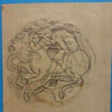 Arte: ORIGINAL. OBRA DE FRANCESC GASSÓ. CABALLEROS Y DRAGONES. MEDIDAS 12 X 16. Lote 190824673
