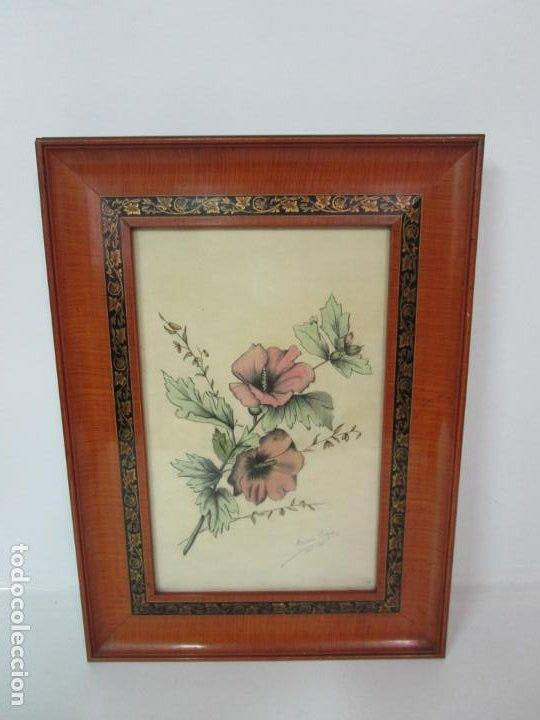 Arte: Dibujo a Lápiz - Flores - Firma María Ragés, Abril 1936 - con Bonito Marco - Foto 2 - 190830487