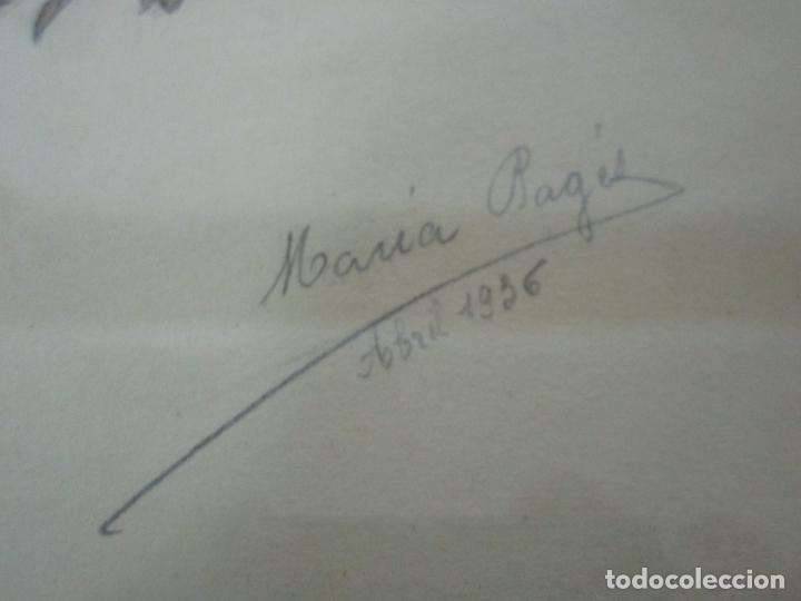 Arte: Dibujo a Lápiz - Flores - Firma María Ragés, Abril 1936 - con Bonito Marco - Foto 5 - 190830487