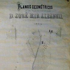 Arte: PLANO DE PROPIEDADES RURALES DE JOSÉ MIR ALBANELL. SANT ANDREU LLAVANERAS. ESPAÑA.1880. Lote 190834107