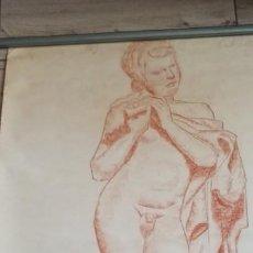 Arte: RETRATO DE FAMOSA ESTATUA CARBONCILLO SOBRE PAPEL ORIGINAL DE GALERÍA. Lote 190862007