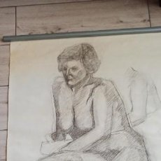 Arte: RETRATO DE MUJER CARBONCILLO SOBRE PAPEL ORIGINAL DE GALERÍA. Lote 190862175
