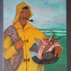 Arte: PINTURA SOBRE LIENZO PESCADOR NAIF. Lote 190865201