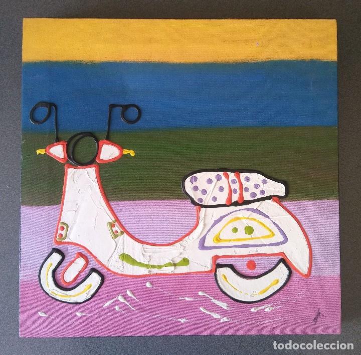 PINTURA SOBRE LIENZO MOTO VESPA NAIF (Arte - Dibujos - Contemporáneos siglo XX)