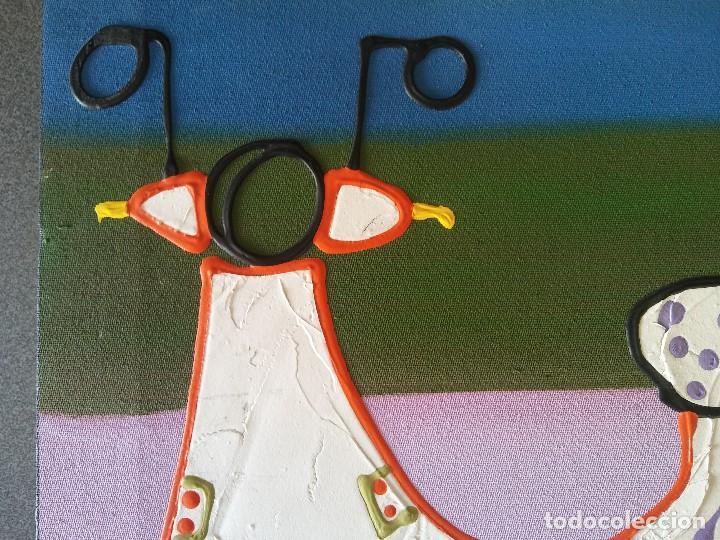 Arte: Pintura sobre lienzo Moto Vespa Naif - Foto 4 - 190865412