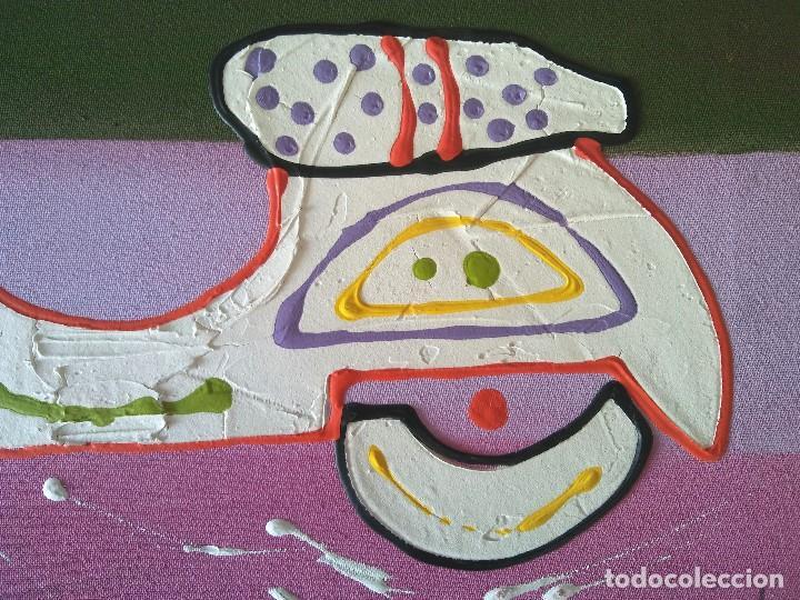 Arte: Pintura sobre lienzo Moto Vespa Naif - Foto 5 - 190865412