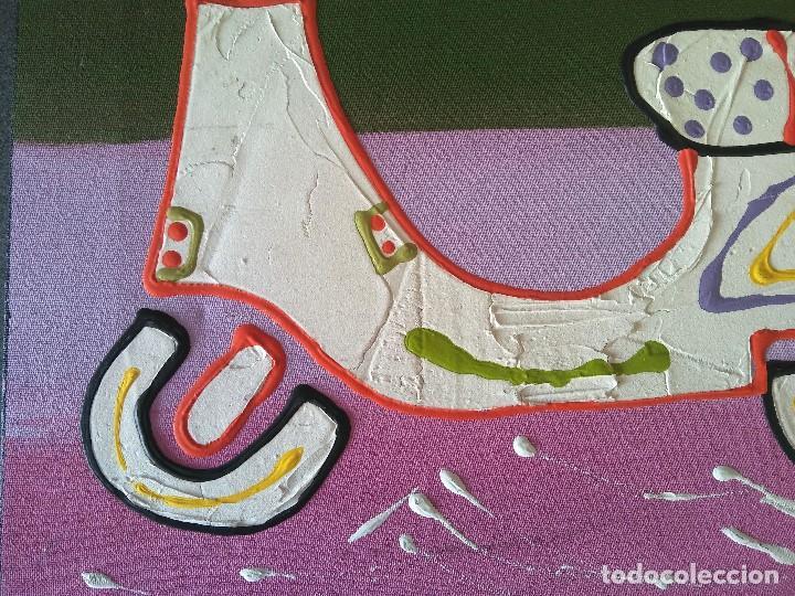 Arte: Pintura sobre lienzo Moto Vespa Naif - Foto 6 - 190865412