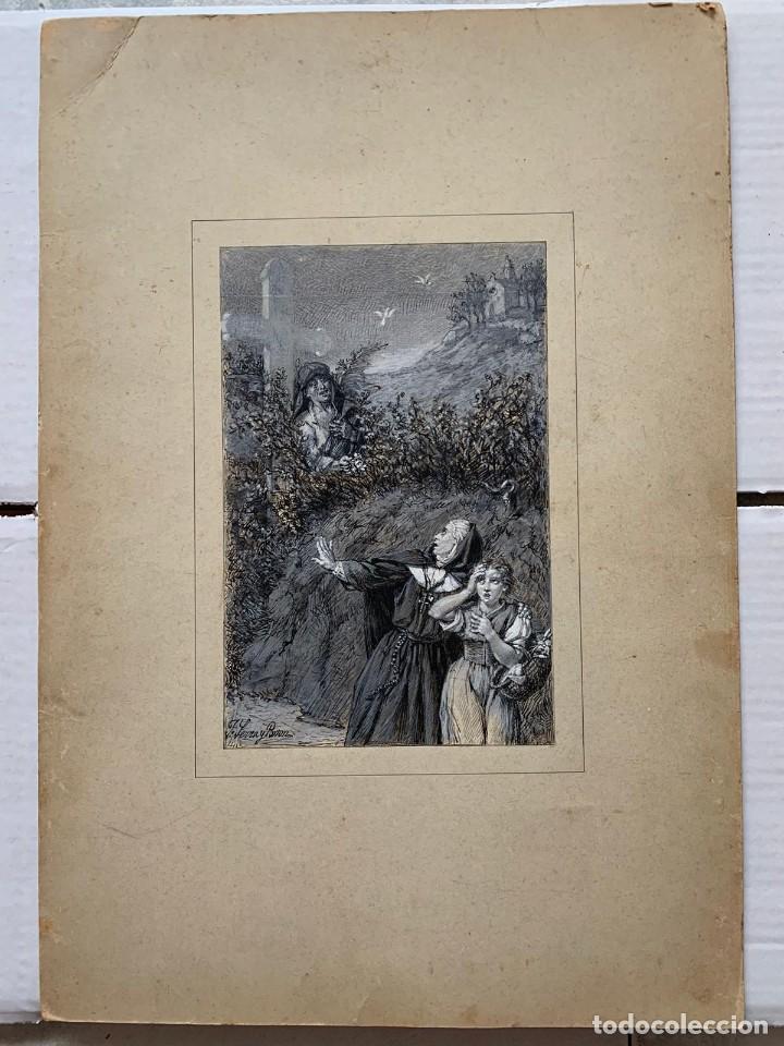 JOSE SERRA Y PORSON - DETRÁS DE LA CRUZ EL DIABLO (Arte - Dibujos - Modernos siglo XIX)