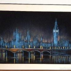 Arte: CUADRO LONDRES DE NOCHE. ACRILICO SOBRE TERCIOPELO.. Lote 190998077