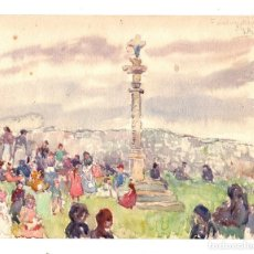 Arte: DIBUJO ORIGINAL EN ACUARELA. FUENTERRABIA. GIPUZKOA. Lote 191058432