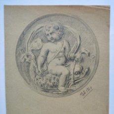 Arte: MARAVILLOSO APUNTE ORIGINAL A LAPIZ DEL MAESTRO DE ZARAGOZA JOAQUIN ALBEREDA, FIRMADO Y FECHADO 1910. Lote 191083673