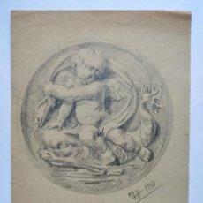 Arte: MARAVILLOSO APUNTE ORIGINAL A LAPIZ DEL MAESTRO DE ZARAGOZA JOAQUIN ALBEREDA, FIRMADO Y FECHADO 1910. Lote 191083845