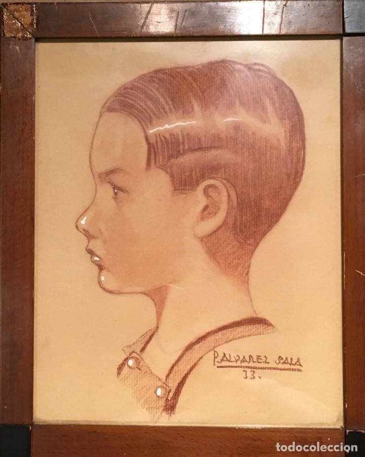 Arte: Retrato de niño por José Álvarez Sala (Gijón) firmado en 1933 - Foto 2 - 191125152