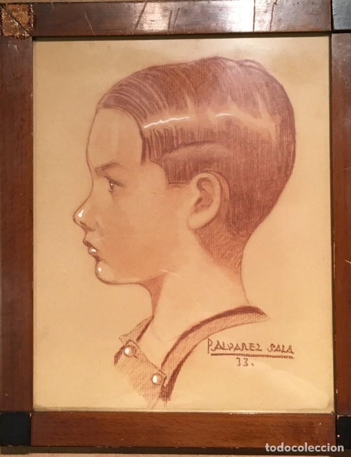 Arte: Retrato de niño por José Álvarez Sala (Gijón) firmado en 1933 - Foto 3 - 191125152