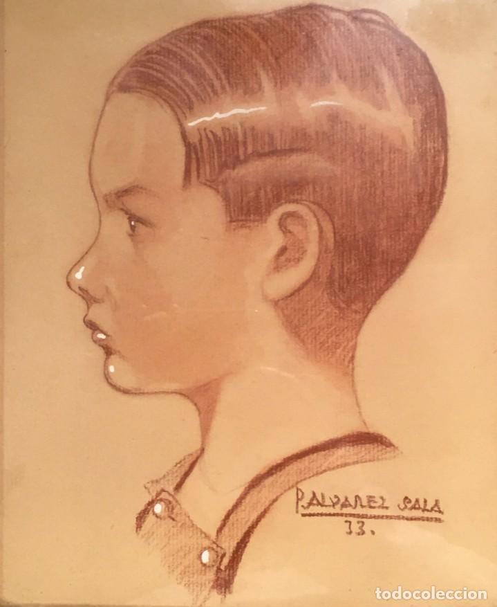 Arte: Retrato de niño por José Álvarez Sala (Gijón) firmado en 1933 - Foto 4 - 191125152