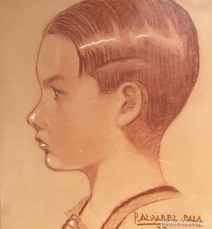 Arte: Retrato de niño por José Álvarez Sala (Gijón) firmado en 1933 - Foto 6 - 191125152