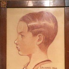Arte: RETRATO DE NIÑO POR JOSÉ ÁLVAREZ SALA (GIJÓN) FIRMADO EN 1933. Lote 191125152