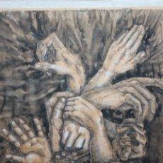 Arte: CANOSA DIBUJO GRAN TAMAÑO EN TÉCNICA MIXTA (ACUARELA, PLUMILLA) DE 80X85 ENMARCADO EN 86X91. AÑO2001. Lote 191264278