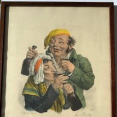 Arte: LITOGRAFIA ORIGINAL DE LOUIS LEOPOLD BOILLY , SIGLO XIX ,LE FELICITE PARFAIT. Lote 191340216