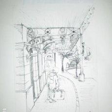 Arte: FIRMA LEIVA DIBUJO AGUADA ORIGINAL AUTORRETRATO DE VIAJE EN ESTACION CON SUS DIBUJOS EN MALETA. Lote 191431833