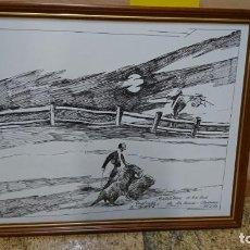 Arte: CUADRO MOTIVOS TAURINOS, ÁLVAREZ, PINTADO A TINTA. Lote 191437581