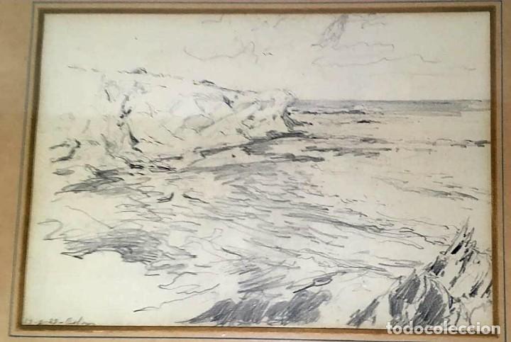JOAN COLOM AGUSTÍ ( ARENYS DE MAR 1879-BCN 1969) DIBUJO CON PAISAJE FIRMADO Y FECHADO (Arte - Dibujos - Modernos siglo XIX)