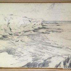 Arte: JOAN COLOM AGUSTÍ ( ARENYS DE MAR 1879-BCN 1969) DIBUJO CON PAISAJE FIRMADO Y FECHADO. Lote 191461807