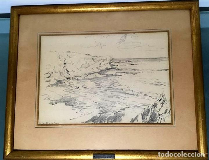 Arte: Joan Colom Agustí ( Arenys de Mar 1879-BCN 1969) dibujo con paisaje firmado y fechado - Foto 2 - 191461807