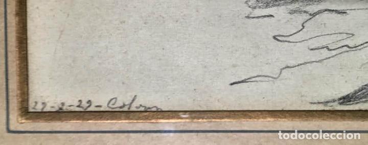 Arte: Joan Colom Agustí ( Arenys de Mar 1879-BCN 1969) dibujo con paisaje firmado y fechado - Foto 3 - 191461807