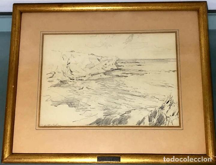 Arte: Joan Colom Agustí ( Arenys de Mar 1879-BCN 1969) dibujo con paisaje firmado y fechado - Foto 5 - 191461807