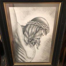 Arte: BONITO DIBUJO PINTADO A LÁPIZ, EL CRISTAL DEL MARCO CON DOS ROTURAS. Lote 191582160