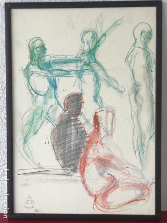 DIBUJO A CERAS SOBRE PAPEL DEL ARTISTA JAPONÉS YASUYUKI. (Arte - Dibujos - Contemporáneos siglo XX)