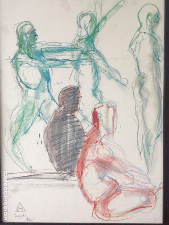 Arte: DIBUJO A CERAS SOBRE PAPEL DEL ARTISTA JAPONÉS YASUYUKI. - Foto 2 - 191600426