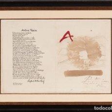 Arte: ANTONI TÀPIES ORIGINAL 1979 ACRÍLICO, ACUARELA Y LÁPIZ CERTIFICADO DE AUTENTICIDAD COMISIÓN TAPIES. Lote 178906457