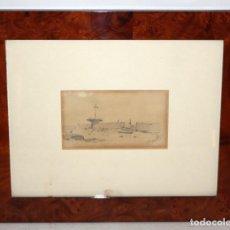 Arte: MODEST URGELL - CARBÓN Y AGUADA SOBRE PAPEL - PAISAJE CON CRUZ.. Lote 191716841