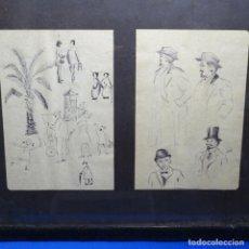 Arte: DOS DIBUJOS ENMARCADOS ANÓNIMOS HECHOS A BOLÍGRAFO.BUEN TRAZO.. Lote 192020235