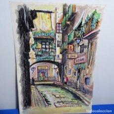 Arte: DIBUJO Y ACUARELA ILEGIBLE DE BUEN TRAZO.BAR ADAN.CARRER DEL ARC DELS TAMBORETS.BARCELONA.. Lote 192020770