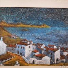 Arte: JOSE GARCIA TORRES (VALENCIA 1934), PASTEL PAISAJE, PUEBLO COSTERO. ALTEA? 65X50CM. Lote 192068470