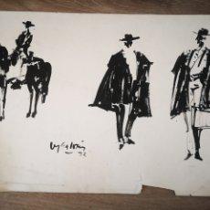 Arte: FRANCISCO MORENO GALVÁN, DIBUJO A TINTA, 3 PERSONAJES. FIRMADO Y FECHADO. 30X41CM. Lote 192155131