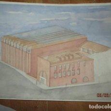 Art: FRANCISCO LEIVA ANTIGUO DIBUJO ORIGINAL PINTANDO ACUARELA 60 X 40 CMS FIRMADO PINTOR ARQUITECTO. Lote 110742263