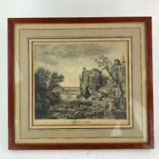Arte: PAISAJE ROMÁNTICO, DIBUJO, LES PETITES CASCATELLES, ESCUELA FRANCESA PRINCIPIOS SIGLO XIX, CON MARCO. Lote 192217733