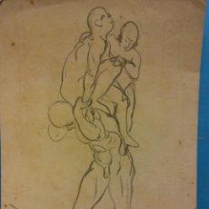 Arte: ORIGINAL. OBRA DE FRANCESC GASSÓ. HOMBRES. MEDIDAS 12 X 16. Lote 192242836