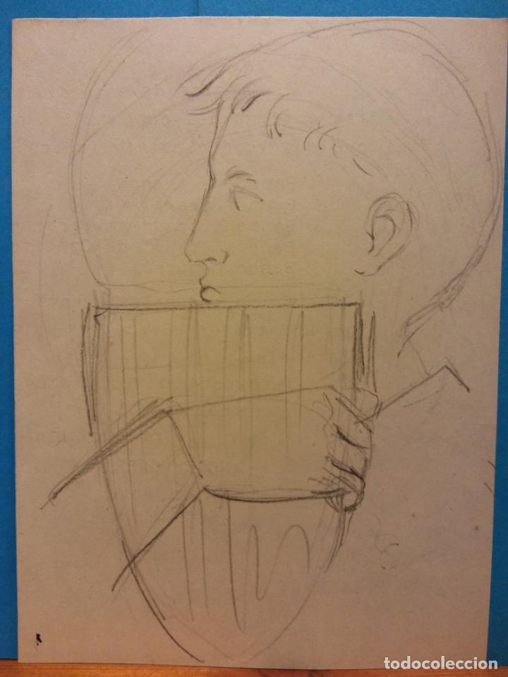 ORIGINAL. OBRA DE FRANCESC GASSÓ. HOMBRE. MEDIDAS 14 X 10 (Arte - Dibujos - Contemporáneos siglo XX)