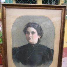 Arte: ANTIGUO DIBUJO RETRATO DE SEÑORA A PASTEL SOBRE LIENZO. Lote 192342410